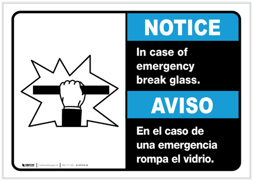 Notice: Bilingual In Case Of Emergency Break Glass with Icon Landscape - Label