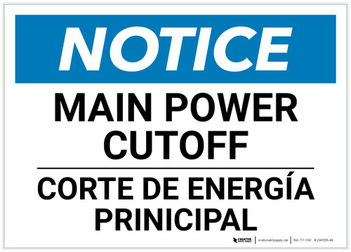 Notice: Bilingual Main Power Cut-off Landscape - Label