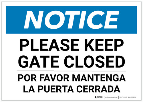 Notice: Bilingual Please Keep Gate Closed Landscape - Label