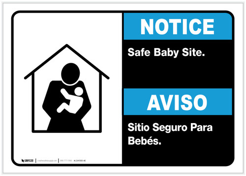 Notice: Bilingual Safe Baby Site Landscape - Label
