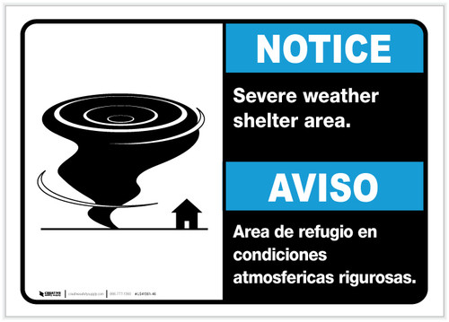 Notice: Bilingual Severe Weather Shelter Area with Icon Landscape - Label