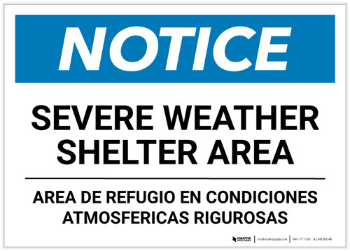 Notice: Bilingual Severe Weather Shelter Area Landscape - Label