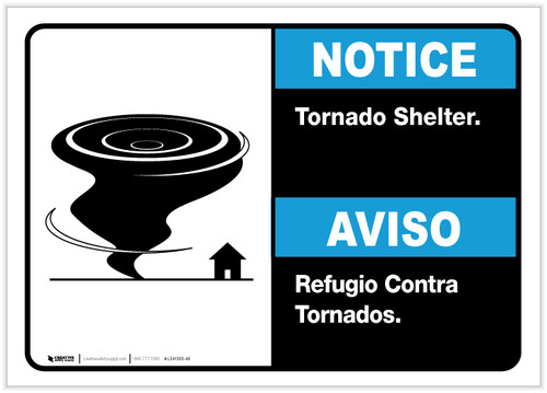 Notice: Bilingual Tornado Shelter with Icon Landscape - Label