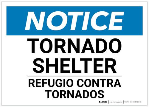 Notice: Bilingual Tornado Shelter Landscape - Label
