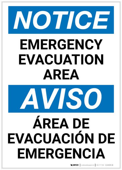 Notice: Bilingual Emergency Evacuation Area Portrait - Label