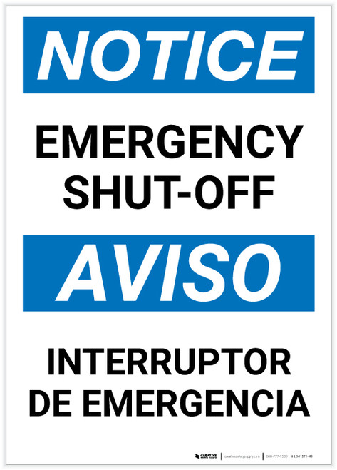 Notice: Bilingual Emergency Shut-off Portrait - Label