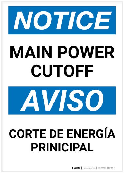 Notice: Bilingual Main Power Cut-off Portrait - Label