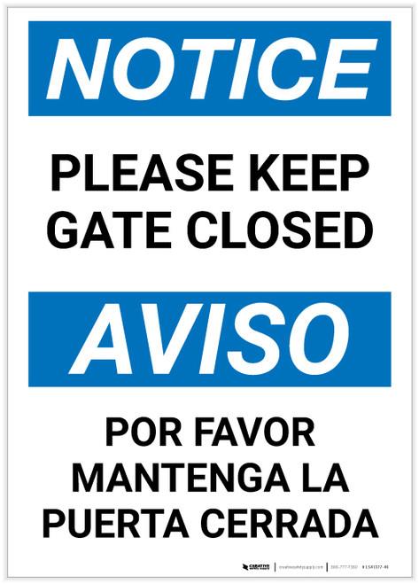 Notice: Bilingual Please Keep Gate Closed Portrait - Label
