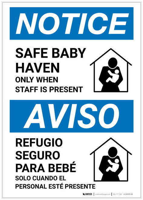 Notice: Bilingual Safe Baby Haven Only When Staff Is Present Portrait - Label