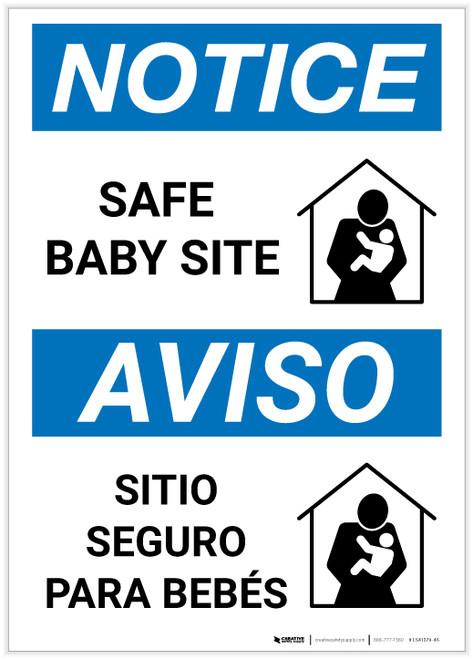Notice: Bilingual Safe Baby Site Portrait - Label