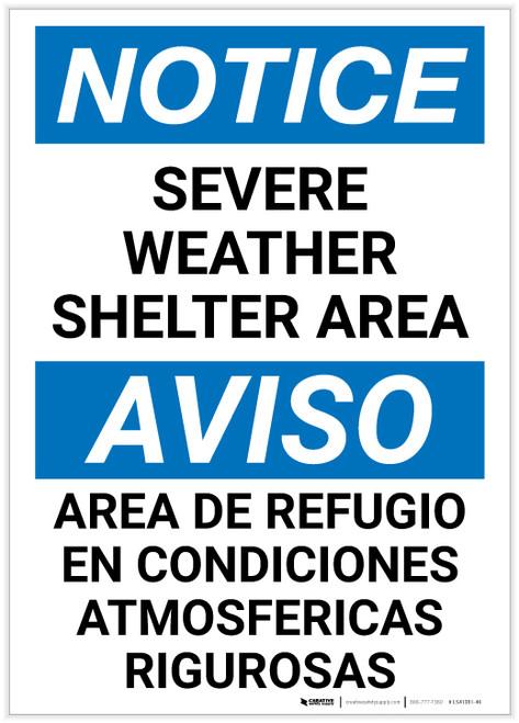 Notice: Bilingual Severe Weather Shelter Area Portrait - Label