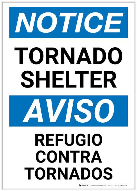 Notice: Bilingual Tornado Shelter Portrait - Label