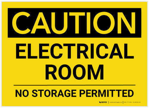 Caution: Electrical Room No Storage Permitted landscape - Label