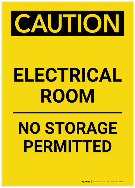 Caution: Electrical Room No Storage Permitted Portrait - Label