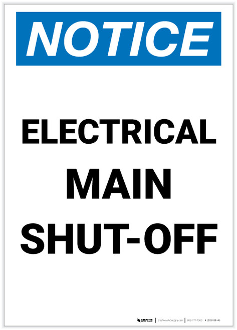 Notice: Electrical Main Shut-Off Portrait - Label