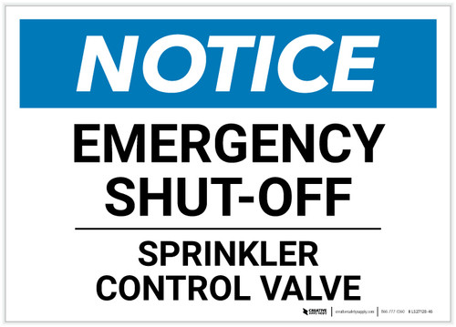 Notice: Emergency Shut-Off - Sprinkler Control Valve Landscape - Label