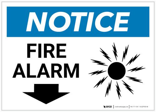 Notice: Fire Alarm with Down Arrow Landscape - Label