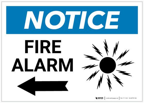 Notice: Fire Alarm with Left Arrow Landscape - Label