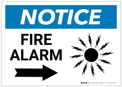 Notice: Fire Alarm with Right Arrow Landscape - Label
