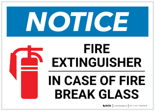 Notice: Fire Extinguisher - In Case Of Fire Break Glass Landscape - Label