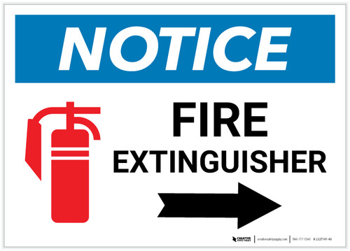 Notice: Fire Extinguisher with Right Arrow with Icon Landscape - Label
