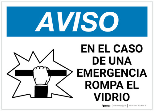 Notice: Spanish In Case Of Emergency Break Glass with Icon Landscape - Label