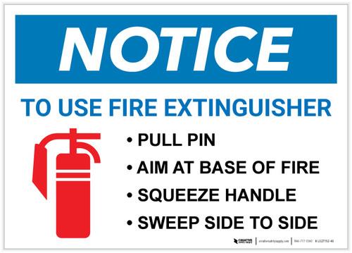 Notice: Fire Extinguisher Procedure Landscape - Label