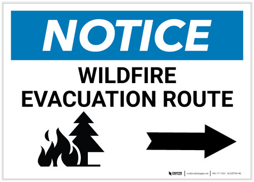 Notice: Wildfire Evacuation Route with Right Arrow Landscape - Label