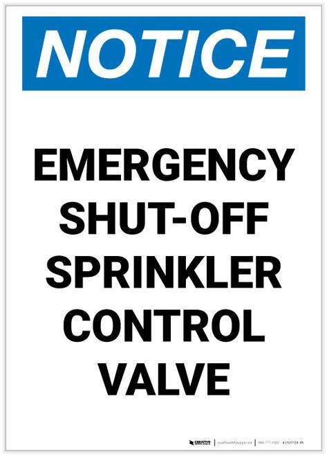 Notice: Emergency Shut-Off - Sprinkler Control Valve Portrait - Label