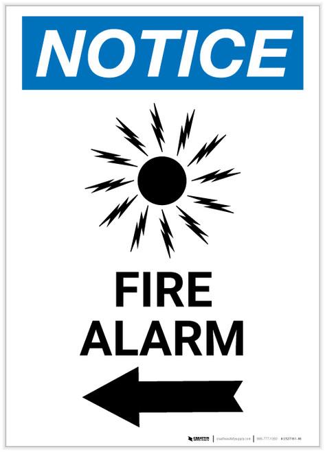 Notice: Fire Alarm with Left Arrow Portrait - Label