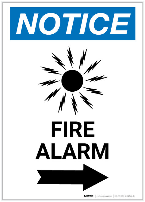 Notice: Fire Alarm with Right Arrow Portrait - Label