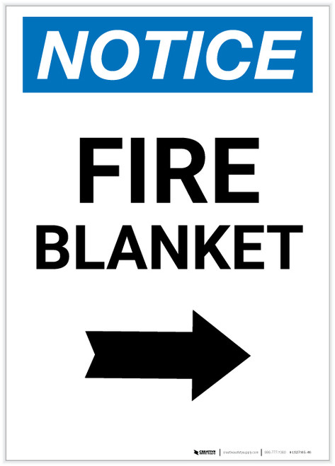 Notice: Fire Blanket with Right Arrow Portrait - Label