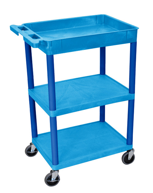 Luxor Blue 1 Tub Shelf  and Two Flat Shelves Cart
