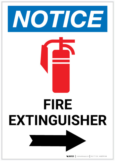 Notice: Fire Extinguisher with Right Arrow and Icon Portrait - Label