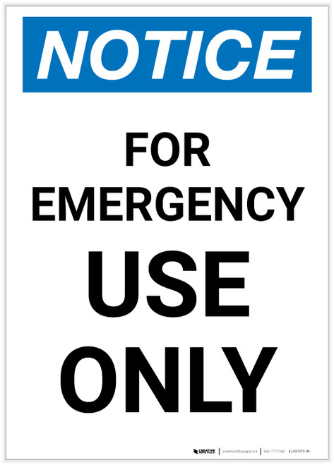 Notice: For Emergency Use Only Portrait - Label