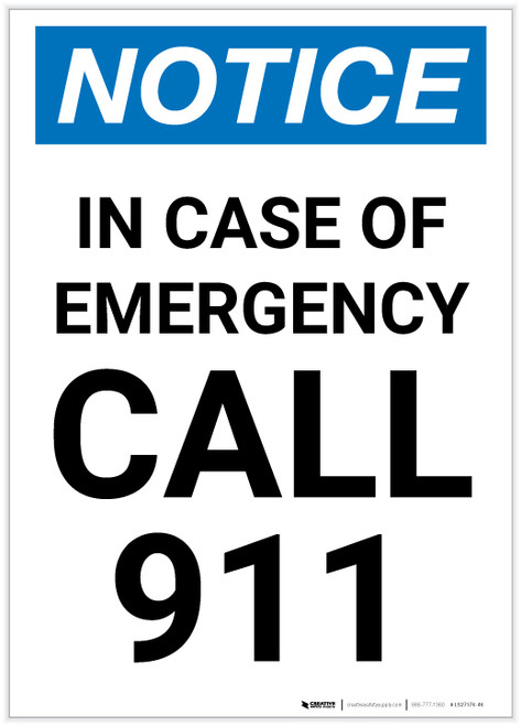 Notice: In Case Of Emergency Call 911 Portrait - Label