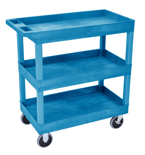 Luxor HD High Capacity 3 Tub Shelves Cart in Blue