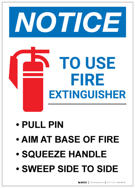 Notice: Fire Extinguisher Procedure Portrait - Label