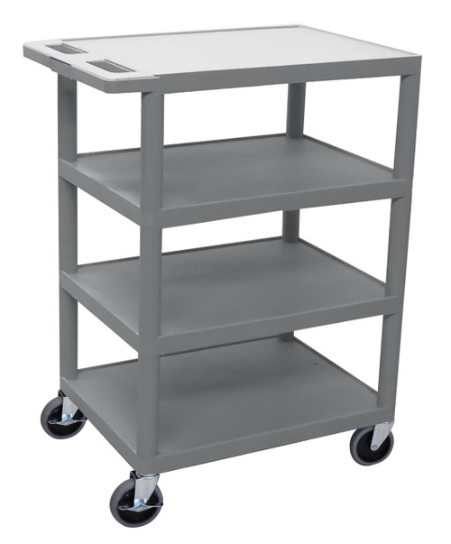 Luxor Four Flat Shelf Gray Utility Cart