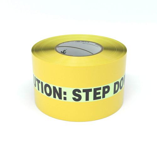 SafetyTac® Glowstripe: Caution: Step Down - Inline Printed Floor Marking Tape