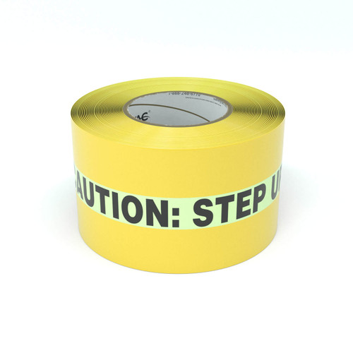 SafetyTac® Glowstripe: Caution: Step Up - Inline Printed Floor Marking Tape