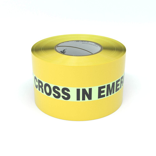 SafetyTac® Glowstripe: Do Not Cross In Emergency - Inline Printed Floor Marking Tape