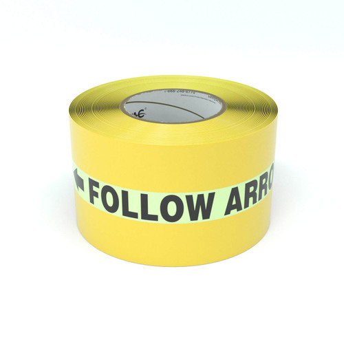 SafetyTac® Glowstripe: Follow Arrows To Safety With Arrows - Inline Printed Floor Marking Tape