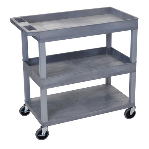 Luxor High Capacity 2 Tubs and 1 Flat Shelf Cart in Gray