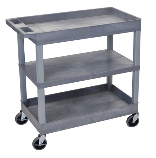Luxor EC121 Gray 18x.32 Cart 2 Tub with 1 Flat Shelf