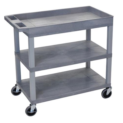 Luxor High Capacity 2 Flat and 1 Tub Shelf Cart in Gray