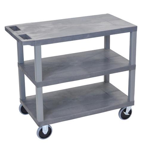 Luxor Gray EC222HD-G 18x32 Cart with 3 Flat Shelves