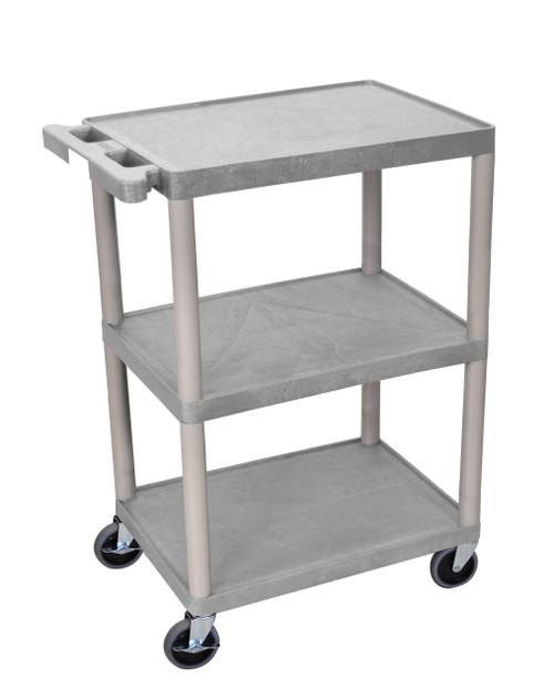 Luxor 3 Shelf Utility Cart Gray