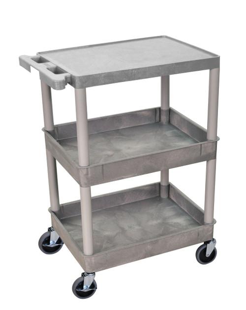 Luxor 3 Shelf Gray Tub Cart