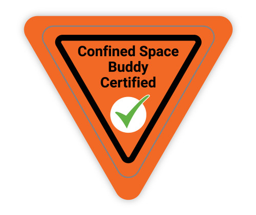 Confined Space Buddy Certified Orange Triangle - Hard Hat Sticker